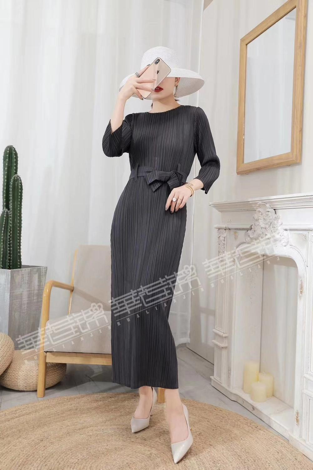 HOT SELLING Miyake fold  classic three quarter dress 0-neck solid lace-up long dress  IN STOCK