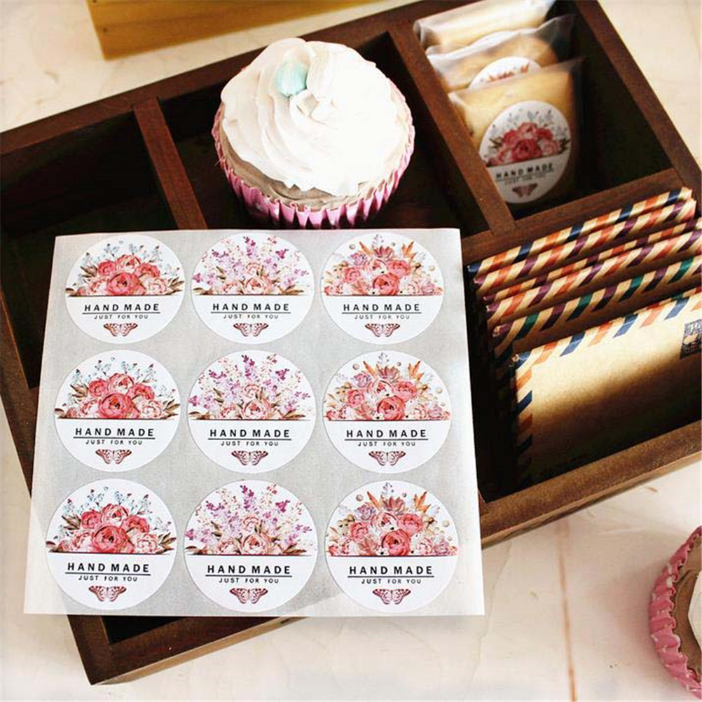 54pcs/lot(6 Sheets)Hand made colorful round flowers butterfly Sticker Labels Stationery Sticker just