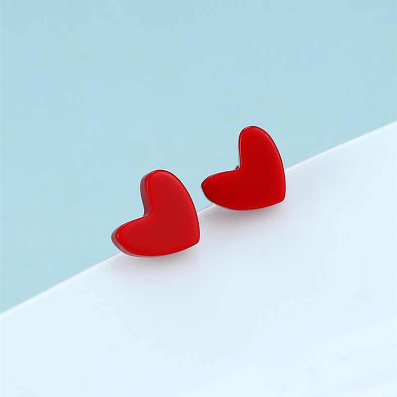 أقراط الحب الأحمر الحلو 925 أقراط فضة دبوس البوهيمي أقراط القلب أقراط مجوهرات الحفلات هدايا عيد الميلاد للنساء