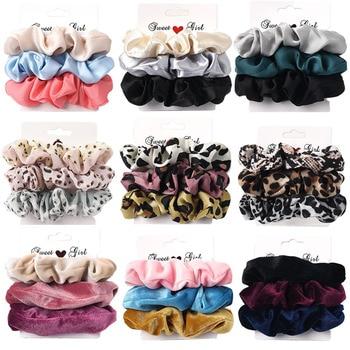 3PCS Vintage Velvet Scrunchie Leopard Scrunchies Set Elastic Hair Bands Headband Ponytail Holder Ties Rope Hair Accessories Gift