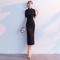 Sexy Women Lace Qipao Vintage Mandarin Collar Formal Party Dress Elegant Black High Split Long Cheongsam Chinese Style Vestidos