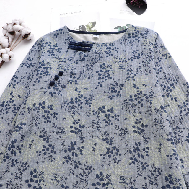 Women Autumn Printed Loose Cotton Linen Blouse Tops Ladies Vintage Shirt Female 2020 Spring Blouses Tops Shirts 3