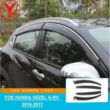 Seite fenster deflektoren Für Honda VEZEL HRV H-RV 2014 2015 2016 2017 2018 Fenster Visor Vent Schatten Sonne regen Deflektor Schutz YCSUNZ
