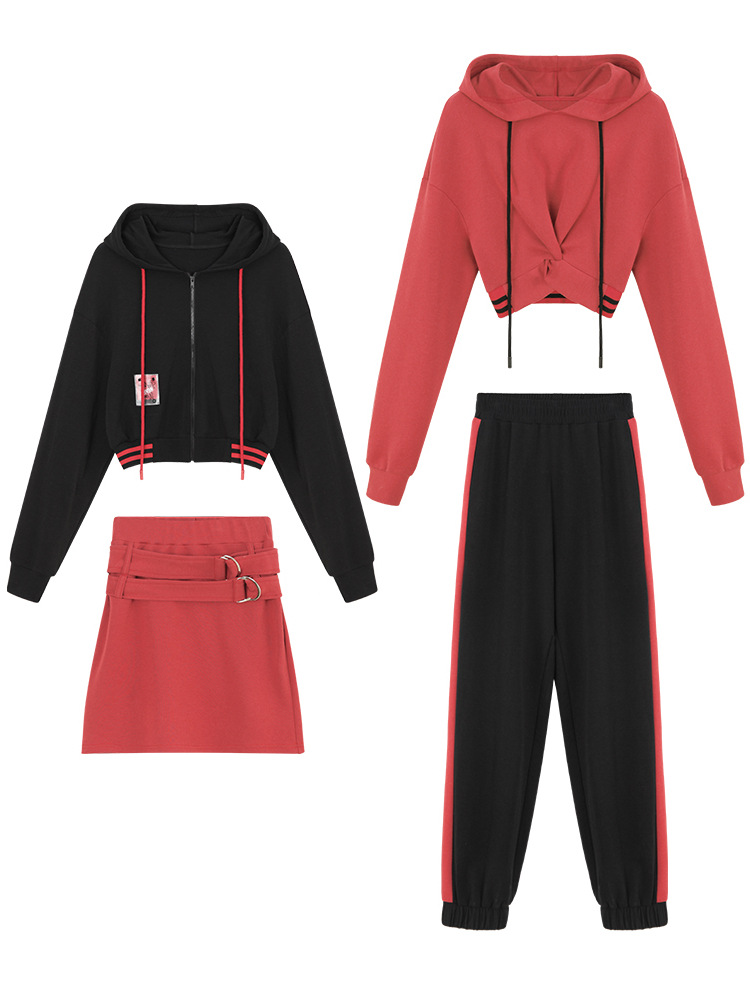 Early Autumn Two-piece Red Black Girlfriends Suit Hooded Sweater Suit Women's Casual Sports Two-piece #76