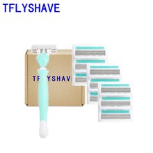 цена на TFLYSHAVE Women High Quality 6 Layer Razor Blade 1 Holder 9 Blades Steel Blade Shaver Razor Sharp Smooth Quality Assurance Safe