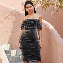 Seamyla женские сексуальные серые платья с открытыми плечами