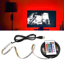 USB Cable Power RGB LED lamp 5V LED Cabinet Light flexible String for kitchen Desktop PC TV Background Decor with Remote Control(China)