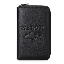 Genuine leather passport holder Long Russia passport cover Men Wallet For passport Business Card holder Folder for documents