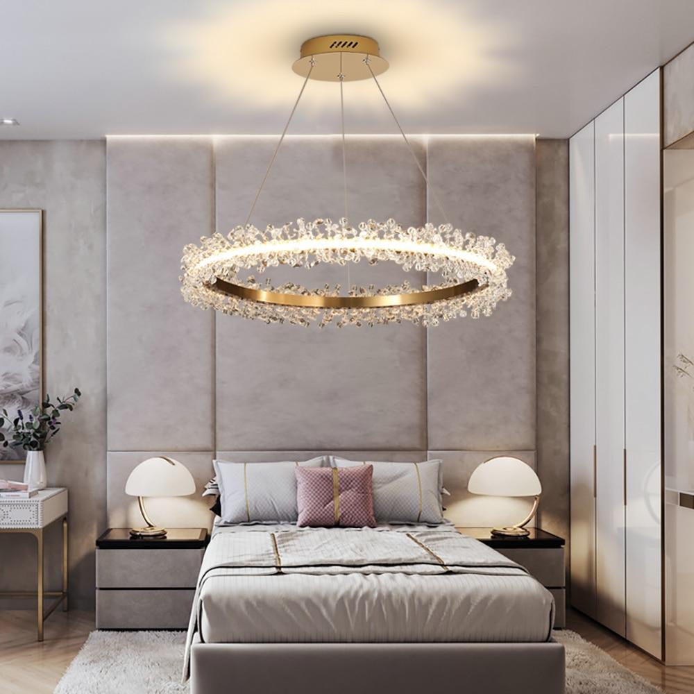 Image 3 - Современная хрустальная люстра, освещение для гостиной, Золотое кольцо, светодиодные люстры, украшение дома, блеск, Кристальные лампы-in Люстры from Лампы и освещение