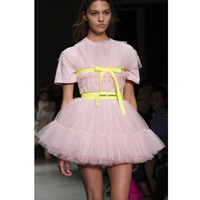 Chic Pink Short Prom Party Dresses Puffy Ruffled Tulle Mini Cocktail Gowns Short Sleeves Unique Robe de soiree NO Yellow Ribbon