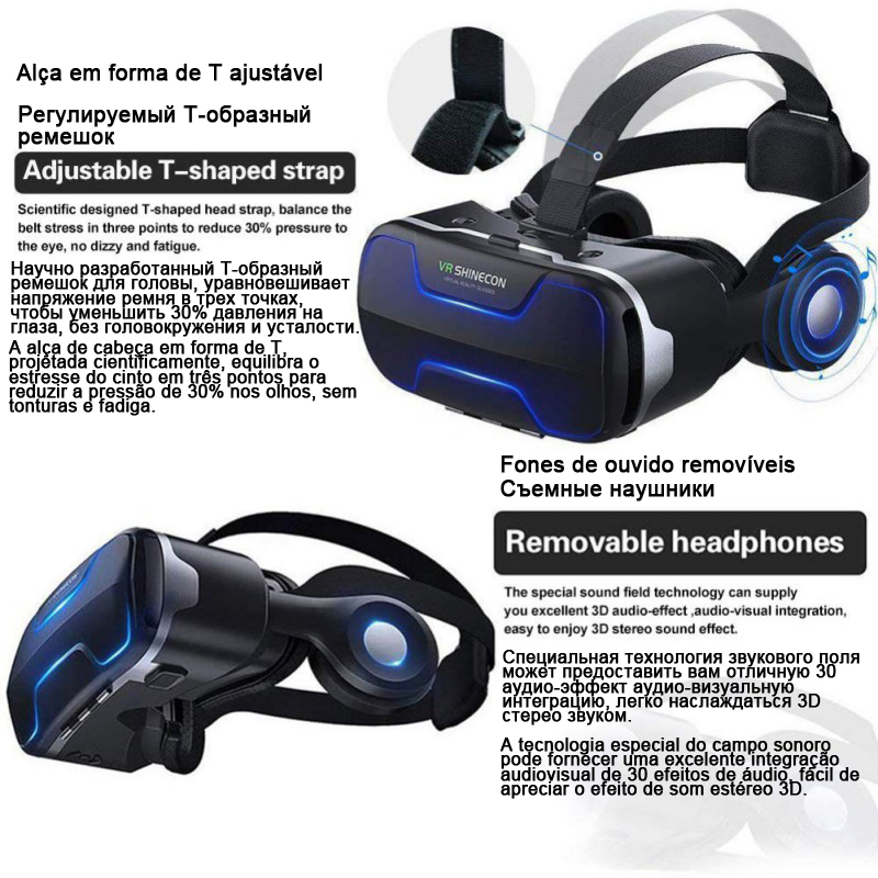 VR Shinecon 3 D Casque Viar 3D Glasses Virtual Reality Headset Helmet Goggles Augmented Lenses for Phone Smartphone Binoculars 1