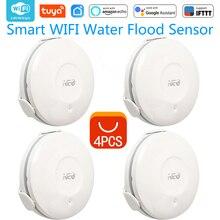 4PCS/lot NEO COOLCAM Smart WIFI Water Flood Sensor, Water Flood WiFi and Leak Detector Alarm Sensor and App Notification Alerts