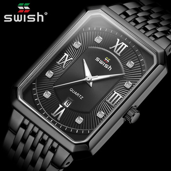 Black Steel Watches Men Top Brand Luxury Creative Diamond Rectangle Quartz Wrist Watch Mens Sports Clock Waterproof reloj hombre top quality luxury men s natural wood watches black genuine leather band quartz watch male sports analog reloj de madera gift