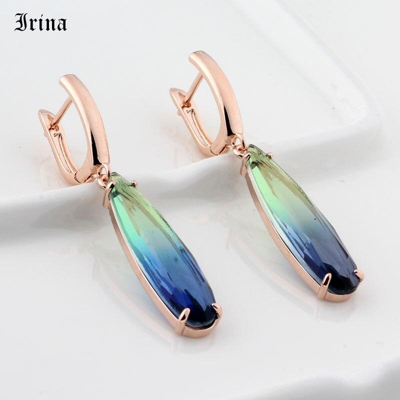 Rose Gold Long Earrings Water Drop Colorful Natural Zirconia Dangle Jewelry Gift