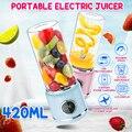 420 мл светодиодный дисплей USB перезаряжаемая портативная электрическая соковыжималка для овощей и фруктов бутылка смузи чайник Соковыжима...