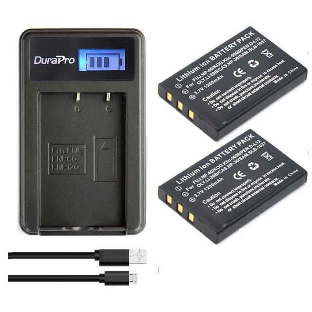 2pc 1200mAh NP-60 NP 60 NP60 Batteria + USB LCD Caricabatterie per il Samsung SLB-1037 per Fujifilm NP-60 Kodak KLIC-5000 per Olympus Li-20B