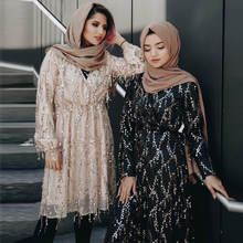 Sequin Abaya Dubai Turkey Arabic Top Mujer Muslim Long Women Tops Ropa Musulmana Mujer Islamic Clothing Vetement Femme Musulmane(China)
