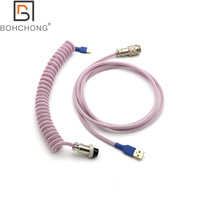 Custom Make Double Sleeved PET Coiled Coiling Type C Mini Micro USB Cable for Mechanical Keyboard Cable With GX16 Aviator
