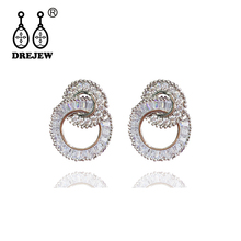 DREJEW Korean Small Round Circle Crystal Statement Earrings 2019 Silver Fashion Hoop Earrings for Women Wedding Jewelry HE389 цена