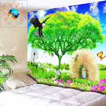 Psychedelic Tree Wall Tapestry Flowers Wall Hanging Hippie Mandala Tapestry Dandelion Butterfly Peacock Dorm Decor Wall Cloth butterfly water print waterproof wall tapestry