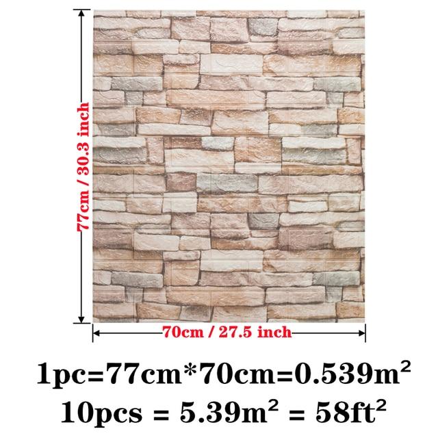 Wall Sticker 10pcs/bag 3D Brick Pattern Wallpaper for Living Room Bedroom TV Wall 77x70cm Waterproof Self-Adhesive Wall sticker 2
