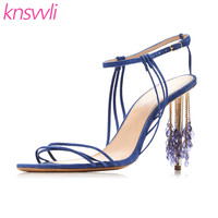 New Suede Leather Sandals Women Peep Toe Women Pumps Blue Crystal string Beads High Heels Party Dress Shoes Sandalias Mujer