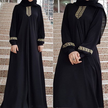 2020 New Women s Fashion Muslim Dress Vintage Islamic Loose Clothing Elegant Dubai Turkish Long