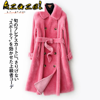 Chaqueta de lana de piel auténtica para Mujer, Abrigo de otoño e...