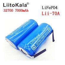 Bateria recarregável liitokala 32700 3.2v, 2 peças, lifepo4 7000mah, bateria de descarga para lanterna de backup