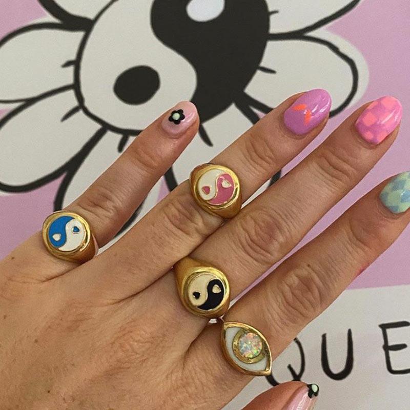JUST FEEL 2020 Gold Color Metal Rings Korean Cute Enamel Daisy Tulip Heart Yin and Yang