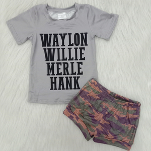 Бесплатная доставка, Одежда для новорожденных мальчиков и девочек камуфляжные шорты с принтом Хэнка эксклюзивные комплекты детской одежды...