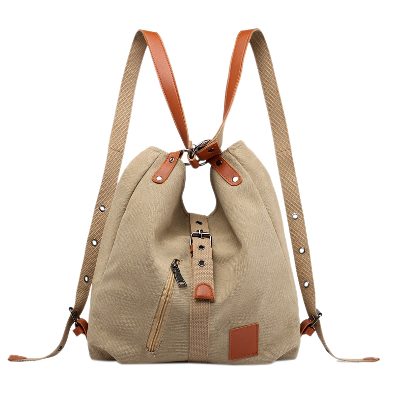 Mummy Bag Multifunctional Backpack Leisure Women's Handbag Large Capacity Canvas Tote Bags Mother Baby Shoulder Light Brown