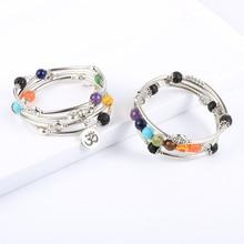 Femmes hommes 8mm pierre naturelle 7 Chakras Bracelet de guérison cuivre Tube perles Yoga Reiki Bracelet prière poignet chaîne bohème bijoux
