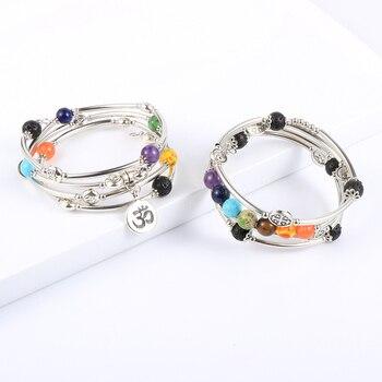 Femmes hommes 8mm pierre naturelle 7 Chakras Bracelet de gu rison cuivre Tube perles Yoga Reiki