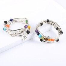 Mulher 8mm pedra natural 7 chakras cura pulseira tubo de cobre contas yoga reiki pulseira oração corrente de pulso boêmio jóias