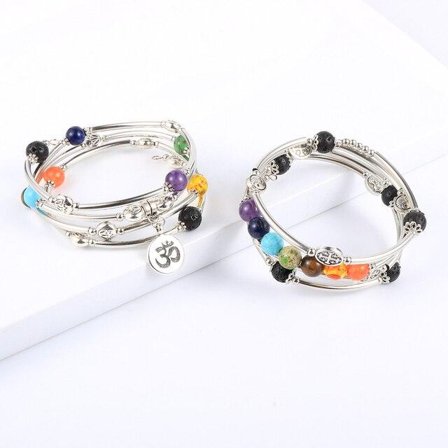 Women Men 8mm Natural Stone 7 Chakras Healing Bracelet Copper Tube Beads Yoga Reiki Bangle Prayer Wrist Chain Bohemian Jewelry