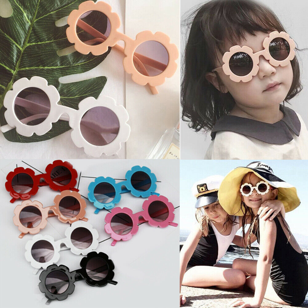 Pudcoco US Stock New Summer Children Sunflower Sunglasses 6 Colors Frame Sunglasses ANTI-UV Protection Reflective Sunglasses