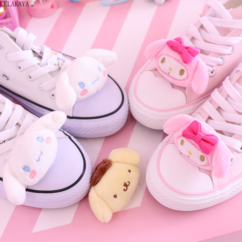 1PCS Cute Cartoon My Melody Cinnamoroll Pudding Dog Stuffed Plush Doll For Shoes Buckles Accessories Charm Decoration Kids Gift