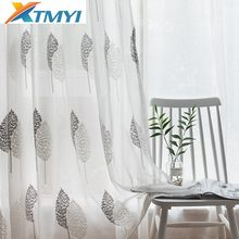 Embroidered organza sheer curtain tulle fabric leaves transparent Curtains for Living Room Bedroom Kitchen Sheer(China)