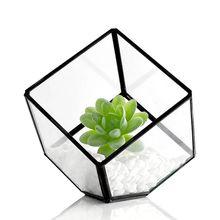 Modern Glass Terrarium Storage Box Clear Glass Geometric Terrarium Succulent Plant Display Box Decorative Votive Candle Holder