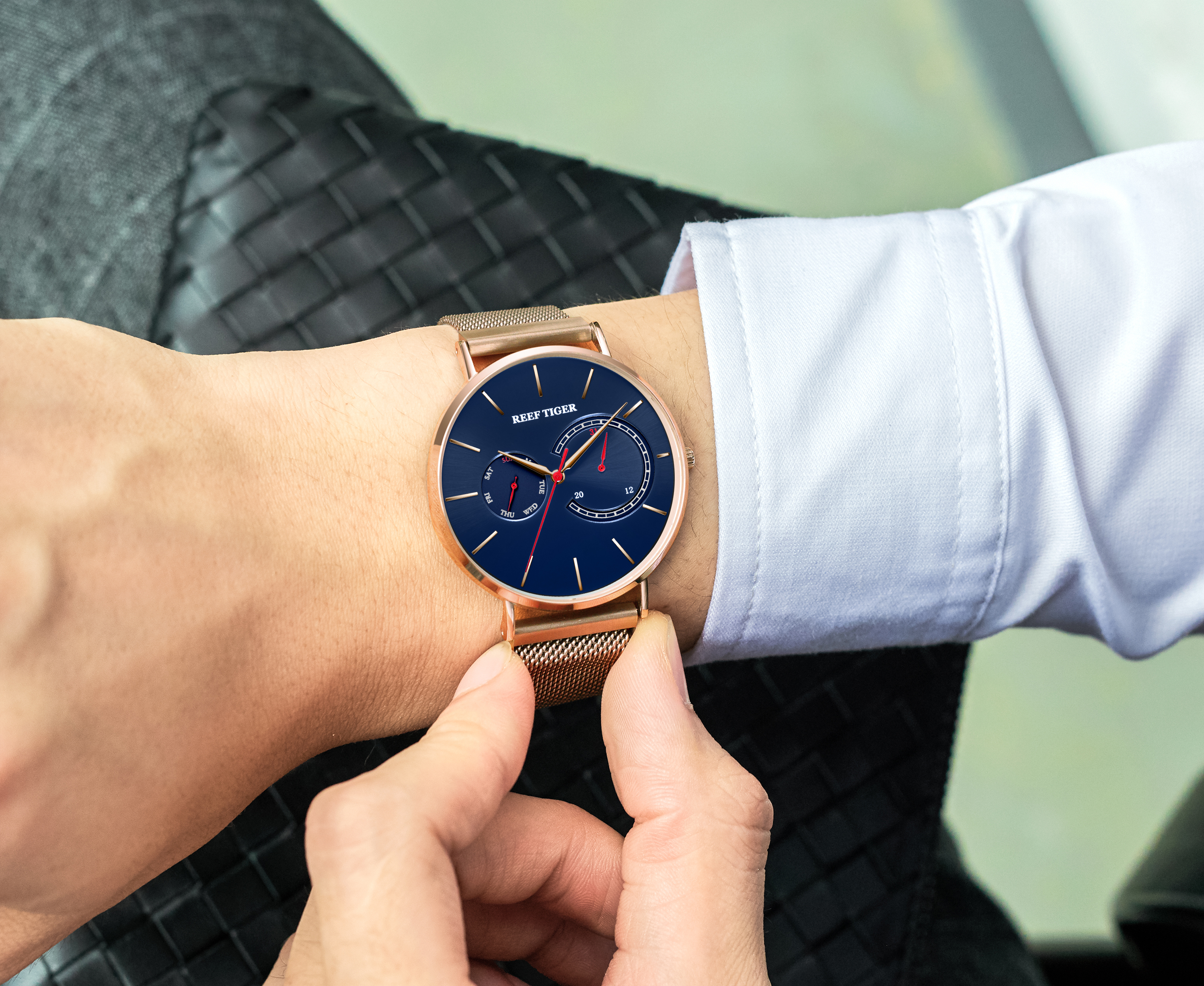 New Reef Tiger / RT Luxury Dress Watch Blue Dial Rose Gold Men Quartz Watch Men's Steel Watch RGA1664