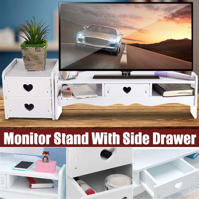 Computer Monitor Riser Laptop PC Stand Drawers Set Home Office Table Storage Organizer Shelf Monitor Holder Screen Shelf Lapdesk