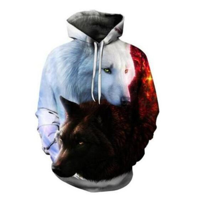 Boys sweatshirts 3D printing mans wommen ice fire Animal Wolf Series pullover animals long sleeve hoodies girls tops thin hoodie 3