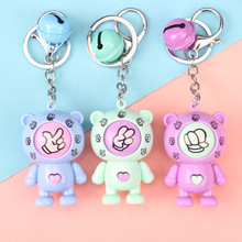 Car buckle Creative Games Keychain Car Rock Paper Scissors Play Toy Key Chain Bear Key Ring Mora Games Keychains Car Bag Pendant