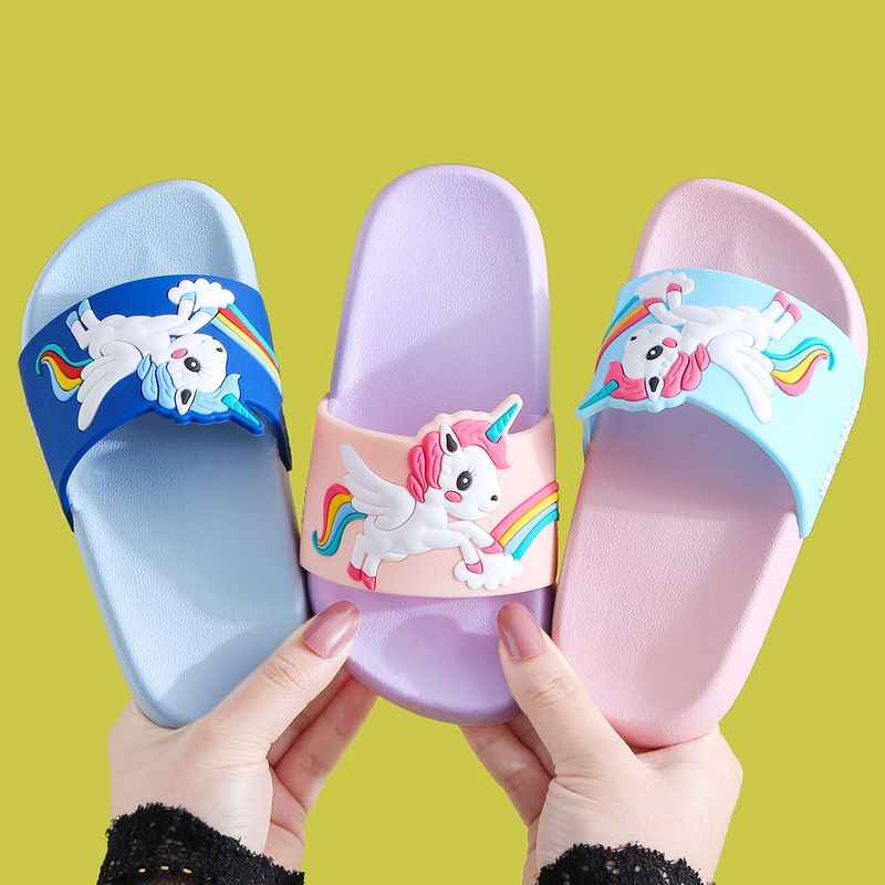 New Summer Unicorn Children's Slippers For Boys Sandals Baby Girl Slippers PVC Soft Beach Shoes Kids Rainbow Casual Flip Flops
