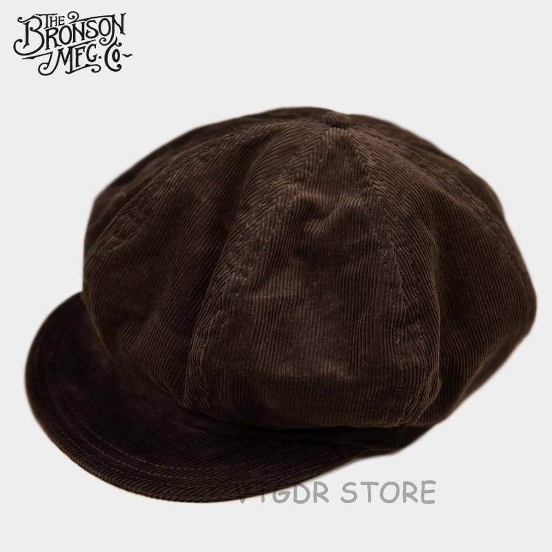 Bronson Vintage Corduroy Flat Cap Winter Classic Men's Newsboy Hat Driving Brown