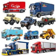 Trucks City Vehicle Pickup Heavy Cargo Transport Kits Model Building Blocks Sets Wagon Van Creator Carriage Harvester