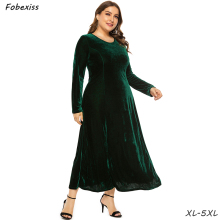 Green Velvet Dress Plus Size Loose Autumn Maxi Party 5XL O Neck High Waist Slim Long Sleeve 2019 Clothes Women