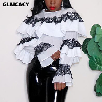 Women Spring Fall O-Neck Blouses Shirt Long Sleeve Lace Ruffles Patchwork Shirts Sexy Tops Classy Office Ladies Workwear 1