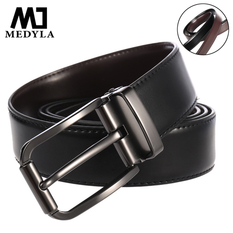 Medyla Cowhide Reversible Belts Men Pin Rotated Buckle Jeans Waist Belt Male Two Sides Belt Business Strap Casual Cummerband